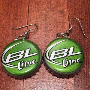 Pair of homemade BUD LIGHT LIME Beer cap earrings